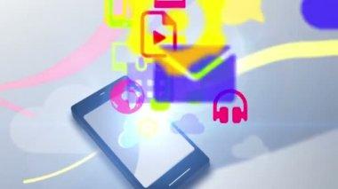 Multimedia icon communication motion graphic animation uploading cloud — Stock Video