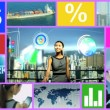 CG video montage Chinese businesswoman businessman app motion graphics — Stock Video #58468571