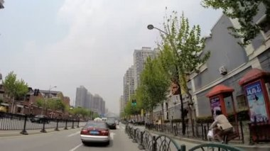 Driving suburb roads Shanghai City — Stock Video