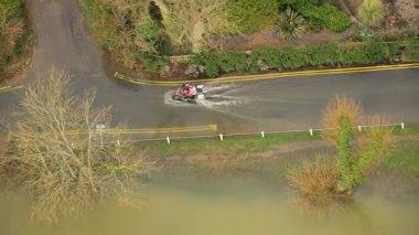 Motor bike on flooded roads rural areas, Southwest, UK — Stock Video