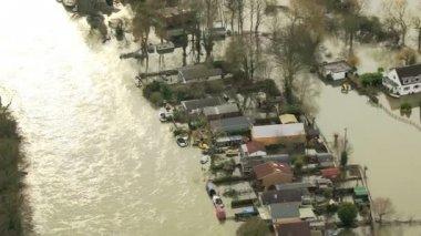 Rain stormy weather river flooding, England, UK — Stock Video