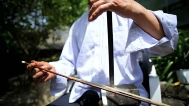 Chinese musician playing Erhu violin — Stock Video