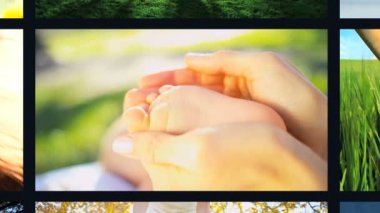CG environmental montage wall Multi ethnic family lifestyle nature life holiday — Stock Video