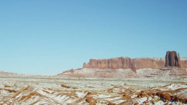 Panning Monument Valley National Park snow desert Buttes — Stock Video