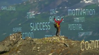 Male hiker views mountain landscape — Stock Video