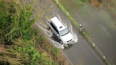 Car moving on flooded roads rural areas, Southwest, UK — Stock Video