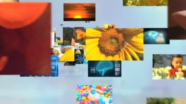 3D montage fly through Multi ethnic family senior lifestyle nature vacation life — Stock Video