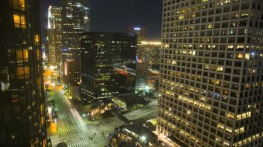 Los Angeles night City commuter traffic Highway Skyscrapers — Vídeo de Stock