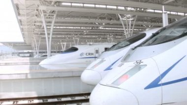 Bullet trains at Shanghai Hongqiao Railway Station — Stock Video