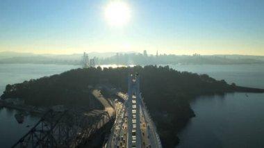 Vista aerea New Bay Bridge vecchio Bay Bridge — Video Stock