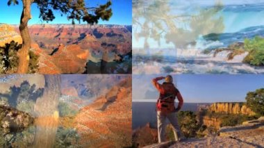 CG wall montage USA famous travel destination holiday canyonlands lifestyle — Stock Video