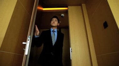 Businessman enters the luxury penthouse — Wideo stockowe