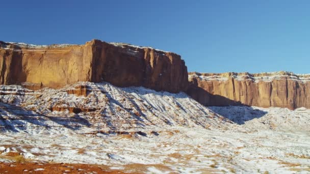 Monument Valley Navajo snow desert Sandstone Buttes — Vidéo