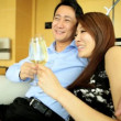 Young ethnic couple drinking champagne — Stock Video #58472687