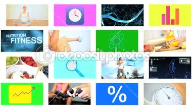 3D video montage Caucasian Hispanic healthy body lifestyle app motion graphics — Stockvideo