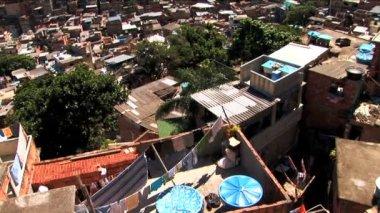 Hillside favela housing in poor communities Urban area — Stock Video