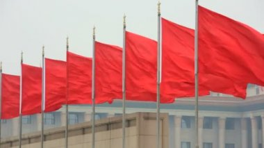 Chinese National Flag Tiananmen Square Beijing China Asia — Stock Video