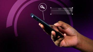 Female hands navigate app technology on phone — Stock Video
