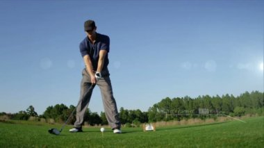 Golfer Teeing Off Golf Ball — Stock Video