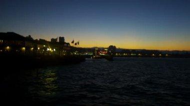 Fishermans Wharf illuminated area sunset dusk San Francisco Bay, California, USA — Stock Video