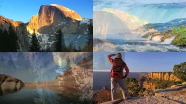 3D wall montage USA famous travel destination walking canyonlands lifestyle — Stock Video