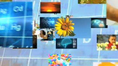 3D montage fly through Multi ethnic family lifestyle holiday graphics motion — Stock Video