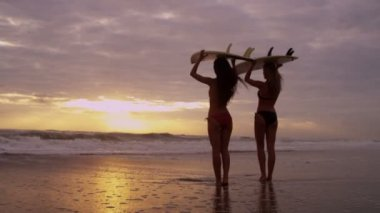 Girls on beach waiting for waves — Stock Video