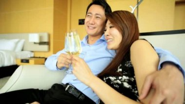 Young ethnic couple drinking champagne — Stock Video