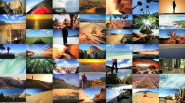 3D wall montage USA National Parks travel nature canyonlands driving lifestyle — Stock Video