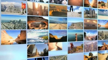 3D wall montage National Parks USA tourism vacation travel lifestyle — Stock Video