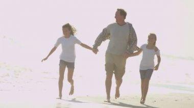 Padre con le figlie che giocano sulla spiaggia — Video Stock