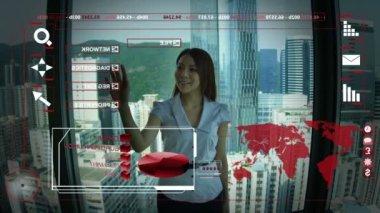 Asian Female using Touchscreen International Trading Forecast — Stock Video