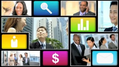 Montage video ethnic businessmen communication — Stock Video