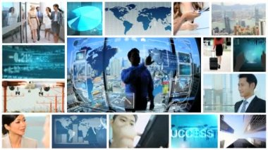 3D video montage Multi ethnic business multimedia travel motion graphics — Stock Video