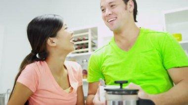 Couple enjoying freshly brewed coffee — Stock Video