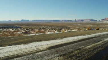 Monument Valley US Route 163 Utah snow Colorado Plateau — Stock Video