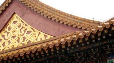 Decorated ancient building Forbidden City — Stock Video