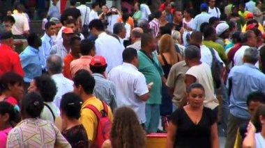 Crowed street people Latin America Rio de Janeiro — Stock Video