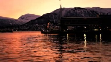 Tromso Fjord Harbour at sunset — Stock Video