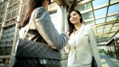 Businesswomen having meeting outdoors — Stock video
