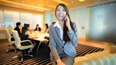 Asian businesswoman on financial meeting — Stock Video