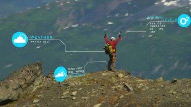 Peak Climber on Rocky Ridge — Stock Video