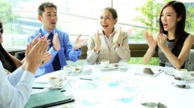 Advertising executives congratulating each other — Stock Video