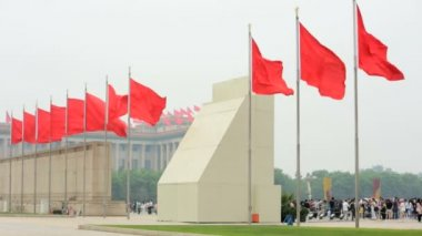 Chinese Flags near Parliament building — Stock Video
