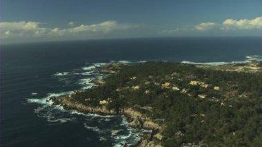 Aerial Sunset Point Monterey coastline Pacific Ocean USA — Stock Video