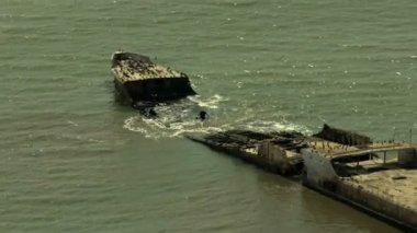 Monterey coastline ship wreck Pacific California USA — Vídeo de stock