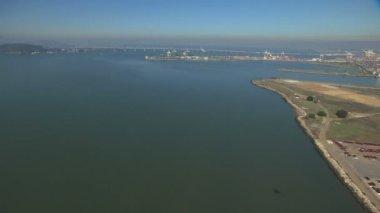 Aerial Alameda Naval Air Station coastal airport USA — Stock Video