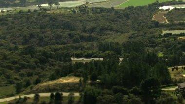 Aerial California farmland building nature daylight — Stock Video