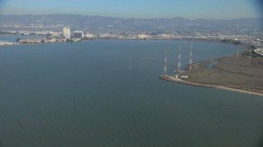 Aerial San Francisco Bay Toll Plaza Interstate 80 USA — Stock Video