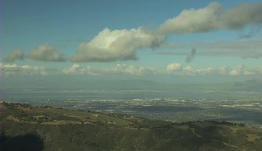 Aerial California  forest hills cumulus nature daylight — Vídeo de Stock